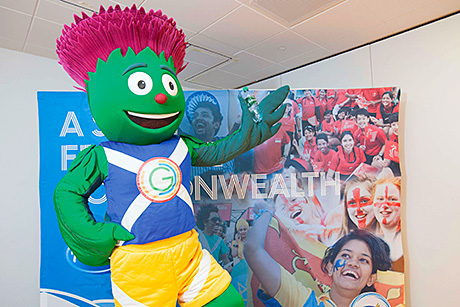 Glasgow 2014 Commonwealth Games mascot Clyde helps AG Barr look forward to the summer festival of  sport.