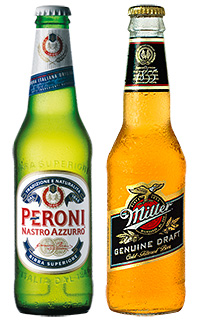 Peroni Nastro Azzurro and Miller Genuine Draft, two of the beers in the Miller Brands portfolio.