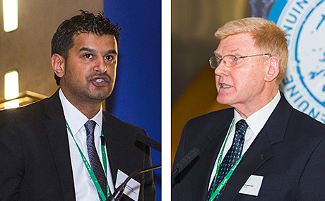 Asim Sarwar, president  of  the Scottish Wholesale Association, left, and John Drummond, chief executive of the Scottish Grocers' Federation, right, at the anti-illicit trading parliamentary reception last month.
