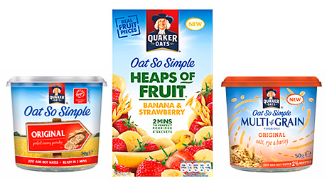 Pepsico-owned Quaker Oats is one of the main suppliers of quick-to-make, porridge-based meals in a variety of pots and packs. It unveiled a range of Quaker Heaps of Fruit porridge pots and sachets in 2013 aimed at younger consumers. For 2014 it has released a Quaker Oat So Simple Multi-Grain range, again aimed at the health-conscious, busy young consumer looking for a quick and filling fix.