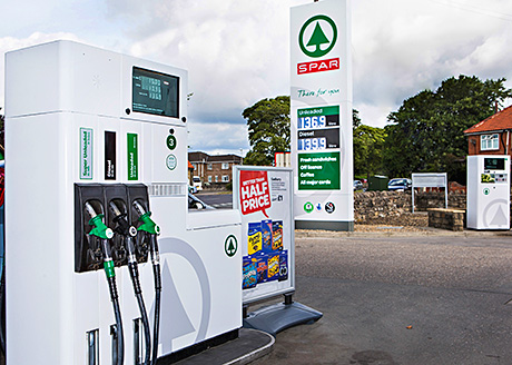 A Spar-branded filling station. The first Scottish unit is scheduled to open later this month.