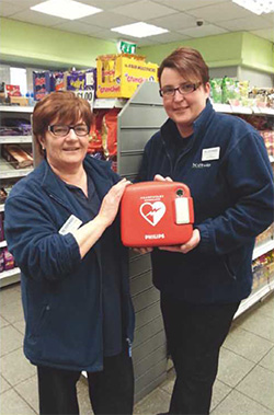 A life-saving defibrillator, in store at Scotmid, Torrance.