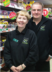 Isla and Bryan Craig, owners of  the Crianlarich Londis store. The store's win of the Kingsmill Christmas Community helped save the area's senior citizens' Christmas party.