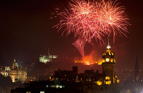 Edinburgh lights up during the summer with seven different festivals including the Fringe, and the Military Tattoo at the Castle Esplanade.