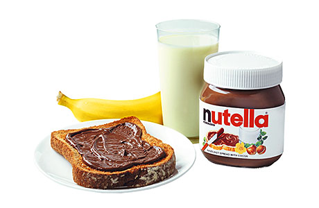 Nearly three-quarters of all Nutella is eaten as part of breakfast, on toast or in porridge.