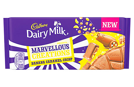 Mondelez International's latest addition to the Cadbury Dairy Milk Marvellous Creations range: a banana caramel crisp flavour, that comes in a 200g bar or as a single-serve sized countline product.