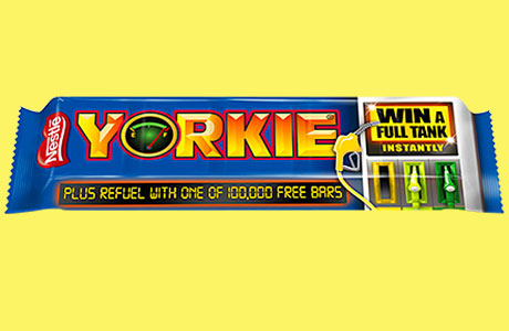 Yorkie's target customers, young men, will be attracted by the chance to win a tankful of petrol according to brand owner Nestlé.
