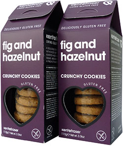 Fig and Hazelnut Crunchy Cookies, a new gluten-free biscuit option from Kent & Fraser.