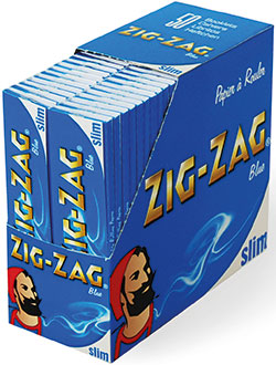 New vertical Zig-Zag king size rolling papers' cases, said to save 50% shelf space.