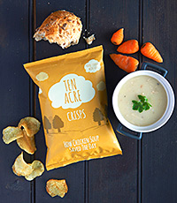 Ten Acre crisps are gluten-free and feature quirky flavour names.