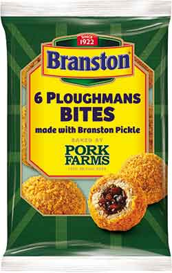 Pork Farms' Ploughmans Bites are breadcrumb-coated,100% pork balls filled with Branston Pickle. They are available exclusively in the convenience channel.