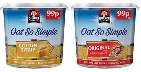 Pepsico-owned Quaker Oats is one of the main suppliers of quick-to-make porridge pots, which are now available in price-marked packs.