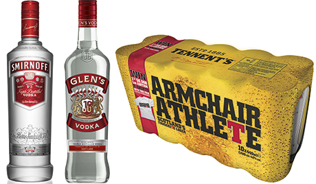Scotland's top four alcohol brands in the off-trade remained the same in 2014 as in the year before. And all showed sales growth according to leading market research company Nielsen. The main Smirnoff vodka saw sales increase 6%. Glen's vodka was up 3% but that wasn't all that happened to the brand in 2014, it also changed owner and now has a new look and will see significant marketing support. Top-selling beer Tennent's Lager added 1% sales value over the year. But Budweiser has been making up ground with 12% sales growth in the Scottish off-trade. Bud was an official sponsor of the FIFA World Cup in 2014 and its summer activity strongly reflected the connection.