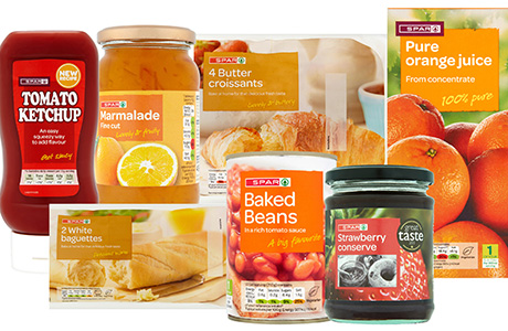 Spar Brand suggests highlighting breakfast products like fresh coffee, orange juice, bacon, sausages and croissants. Many of its products are price-marked and on offer at two for £2, £4, or £5 with flashes on packs.