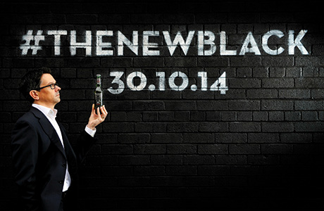 Tennent's marketing director Paul Condron marks the launch of premium lager Black T, just ahead of Halloween last year.