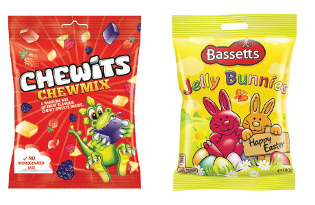 Sharing bags like Chewits Chewmix (left) are becoming more popular with adults, says Cloetta. Bassetts Jelly Bunnies (right) are new for Easter from Mondelez.