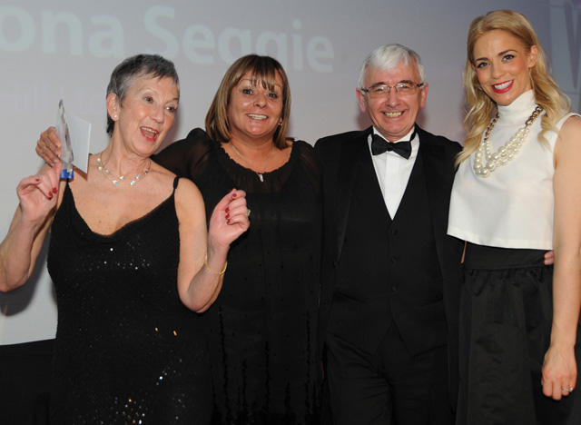 Fiona Seggie, business development manager at Iain Hill Ltd, second left, was named Employee of the Year in a category sponsored by Mondelez International.