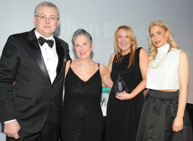 Jillian Blaney of Mondelez International, second right, was named Supplier Sales Executive of the Year in an Achievers category sponsored by Sugro.