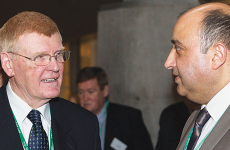 John Drummond, left, retiring as chief executive of the Scottish Grocers' Federation and Pete Cheema, right, who becomes the new chief executive.