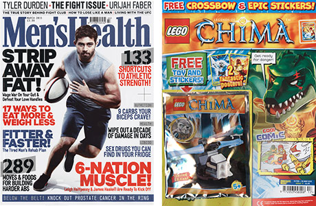 Health might be a hot topic but Men's Health sales fell. Lego Legends of Chima rose 25.2% on the year.