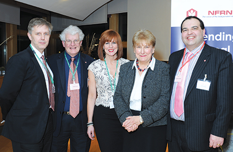Annabel Goldie MSP, second right, welcomes the NFRN to Holyrood for the organisation's parliamentary reception.
