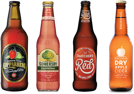 Kopparberg Strawberry & Lime, Somersby Cranberry, Thatchers Red, Rekorderlig Dry Apple and Magners Light Orchard Berries (below)  – all competing for the attentions of young adult consumers.