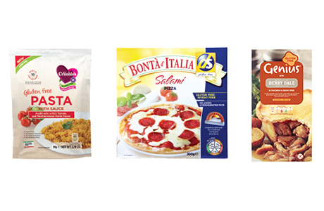 Mrs Crimble's Gluten Free Pasta with Sauce (above left) is one of many new products highlighted at Free From Food/Ingredients 2015 this month. Bonta d'Italia (centre) are a gluten-free pizzas range recommended for larger c-stores by DS-Gluten Free, while gluten-free pies (right) are part of Genius's growing frozen range.