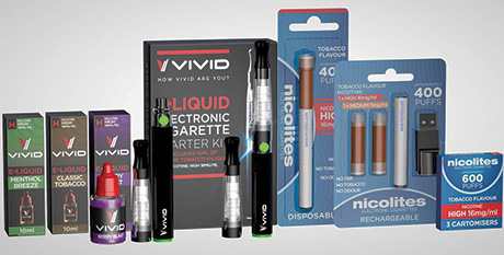 Vivid Vapours and Nicolites are examples of the two main product categories in e-cigarettes, both produced by Nicocigs Ltd.