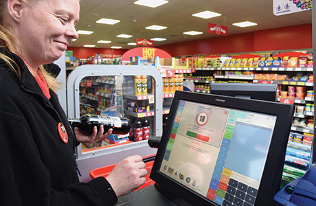 Family shopper Paisley June 15 assistant at till alcohol prompt