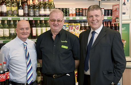 Donald MacGregor, company-owned, company-operated (Coco) area manager, Certas Energy (left), Derek Paton, forecourt manager (centre) and Colin Levy, company-owned operations manager, Certas Energy (right).