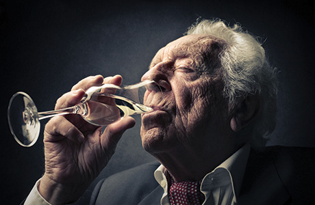 sh old man drinking champagne june 15
