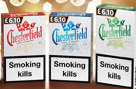 Packs across the entire Chesterfield range have a new look, complete with a crown and several messages about quality and heritage.