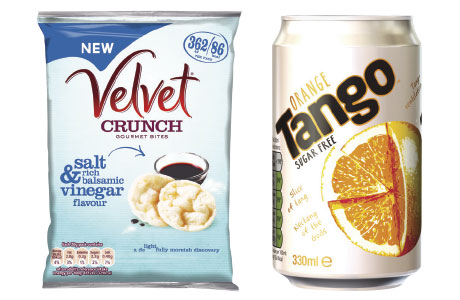 Velvet Crunch and several other KP Snacks have fewer than 100 calories a bag. Tango Sugar Free, is a new launch by Britvic Soft Drinks.