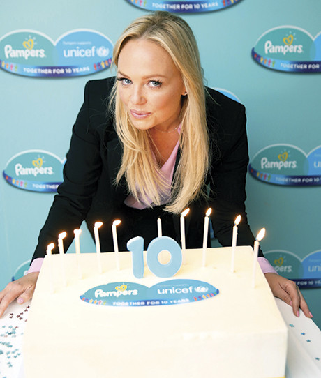 Pampers brand ambassador Emma Bunton helped celebrate 10 years of partnership between Pampers and global health charity UNICEF.