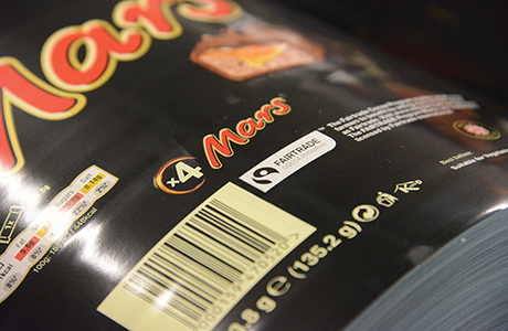 The first Mars Bars to feature Fairtrade-certified cocoa are now being produced . Mars has committed to Fairtrade's new Cocoa Sourcing Program.