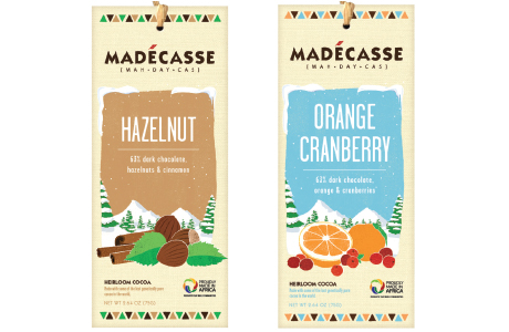 Both of the new Madécasse Christmas-themed bars have a 63% cocoa content and are available in 75g packs with RRPs of £2.99.