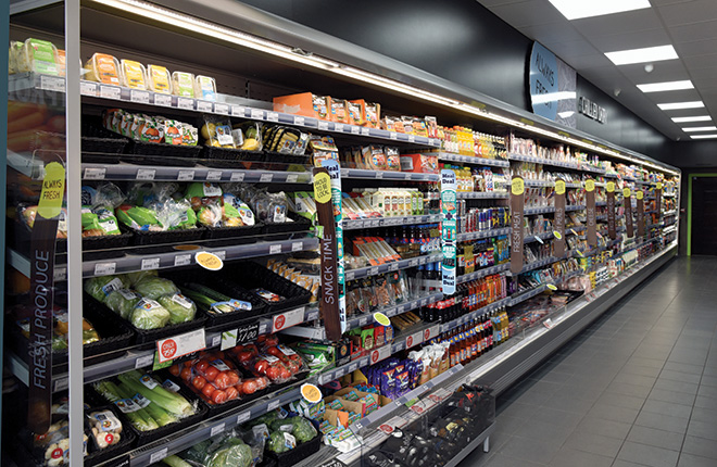 The store has been designed so that when customers enter the store they are immediately met with 15 metres of chilled food and drink. Following this to the far end leads them to frozen food. Both chilled and frozen are extended height for more display area.