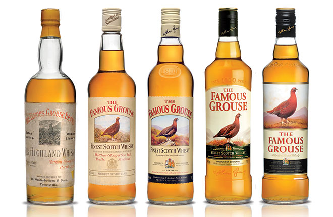 It's what marketing professionals call an evolution shot – a picture that shows how a brand's appearance has developed over the years. Over its life The Famous Grouse has also developed into the biggest-selling whisky in Scotland.