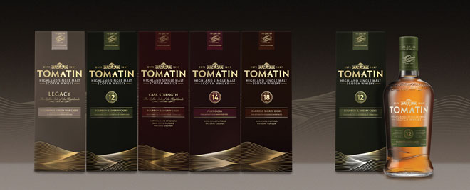 The malt scene has been very active. Pictured above, the newly rebranded range of malts from Tomatin Distillery.