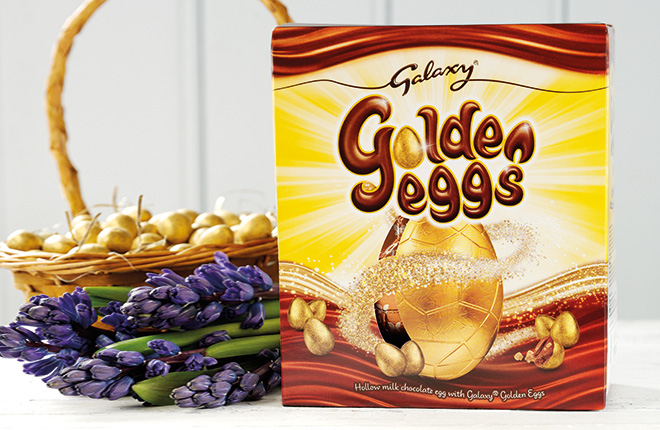Galaxy Golden Eggs are available in an 80g sharing bag with an RRP of £1.30 and there's a large egg at £5.29.