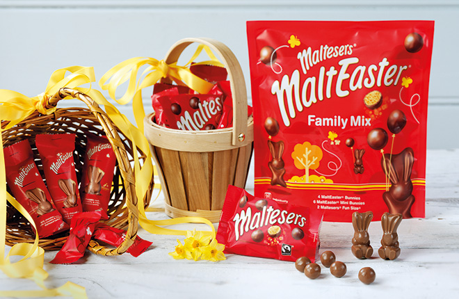 The Malteaster Bunny is back as a single-serve line as well as in sharing size and multipacks, and as a large egg.