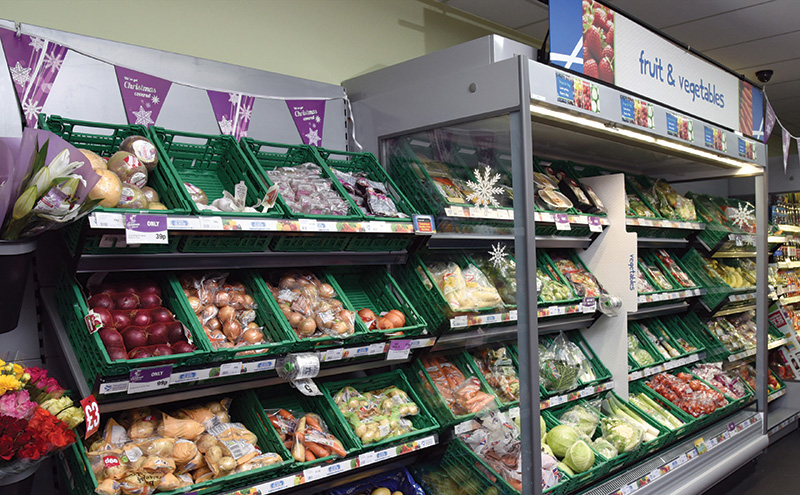Fresh produce display area in store