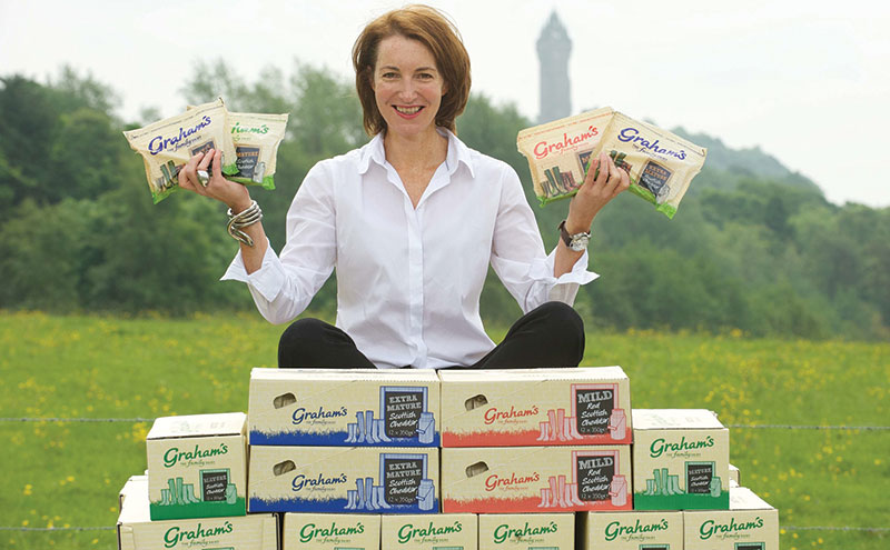 Graham's the Family Dairy marketing director Carol Graham with the company's new cheddar cheese.