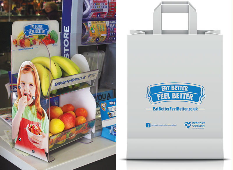 [left] The SGF HLP counter top unit specially designed to be used at till points. The Programme has found many retailers keen to take the units in a part of the store that is seen as one of the best locations to encourage impulse purchases. [right] Eat Better Feel Better with a meal made from the ingredients in a healthier meal deal bag.