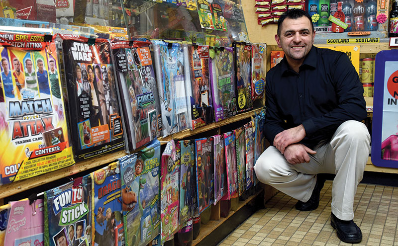 As well as making use of the POS materials provided by Topps at the counter, Iky has designed many of his own displays. Starter packs are arranged along the front of the counter, while monthly magazines are kept in the news section, at a level where they are easily accessible to children. For the ease of shop staff, standard packs of cards are kept in tubs beneath the tobacco gantry.
