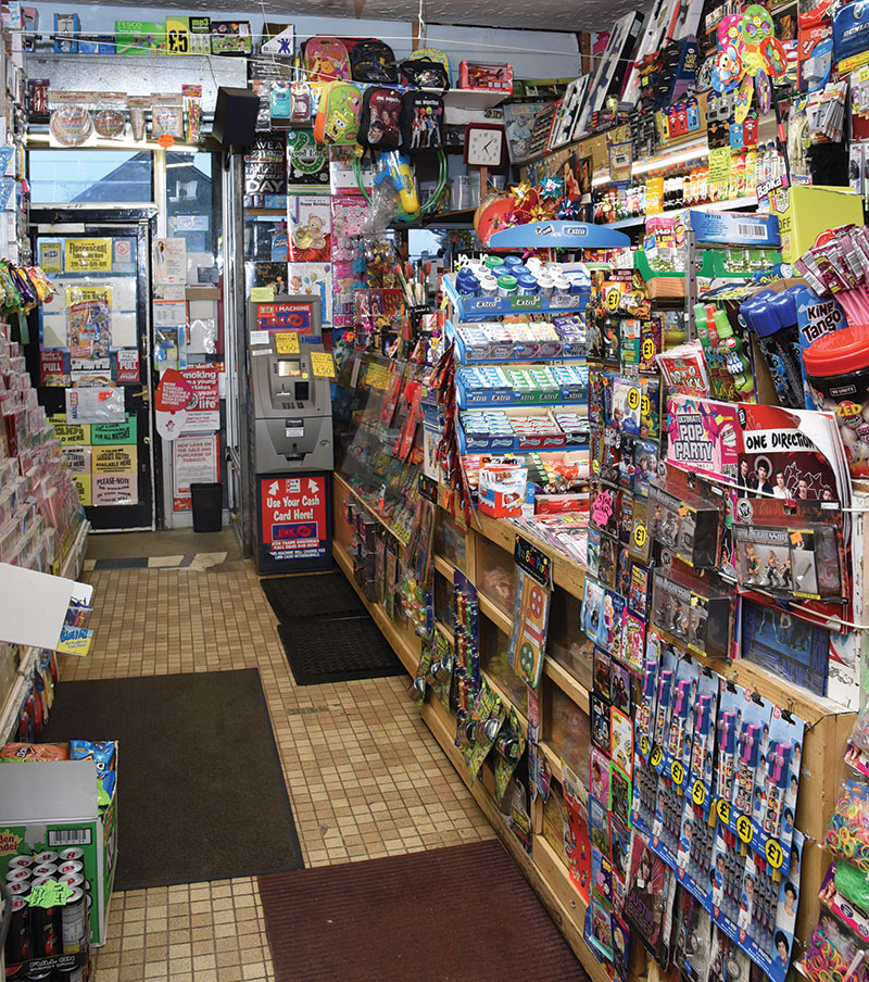 Trading cards and other collectables are promoted in almost every corner of Fleming Gifts.