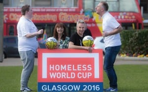 The Homeless World Cup will be played with Fairtrade footballs thanks to Scotmid Co-operative and Bala Sport who have teamed up as official match ball partners to support the unique sporting event that will be held in Glasgow in July this year. For more details see press release or contact James Matheson or Laura McKenzie on 0131 226 2363 or firstname.lastname @grayling.com Pic shows L/R :  Charlene McKellar (Street Soccer),Yvonne Goodfellow (Scotmid membership and community officer) Angus Coull (Joint MD Bala Sports)and Robert Hare (Street Soccer),  Pic Peter Devlin