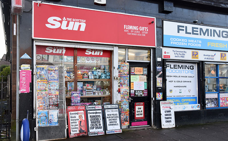 Fleming Gifts is situated in Fleming Avenue, next door to Fleming Food Store, a convenience store owned by Iky's brother. Their other brother runs a newsagent and grocer in Riddrie.