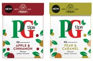 PG Tips expanded its green and fruit and herbal ranges with seven new flavours in the last month. The new green tea flavours include Green Tea Strawberry Cupcake, Green Tea Lemon Pie, and Green Tea Orange. The new fruit and herbal flavours include Apple & Cinnamon, Honey & Lemon Balm, Pear & Caramel and Cool Citrus.