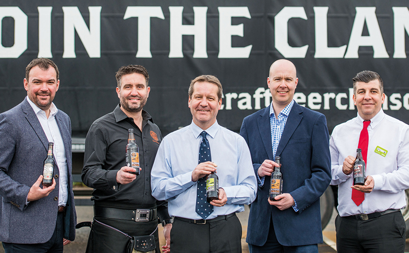 Marking the move of the Craft Beer Clan onto Asda shelves, left to right: Scott MacDonald, 121 Business Solutions; Chris Miller, Craft Beer Clan; Simon Ross, Ross & Brown; Craig Brown, Ross & Brown; and Brian O'Shea, regional buying manager for Scotland, Asda.